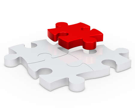 distinct: puzzle jisaw sign with one red out Stock Photo