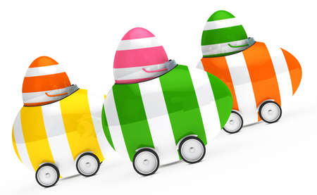 easteregg: colorful easter eggs figure sit in car