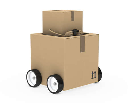 removals boxes: brown package figure drive in a car