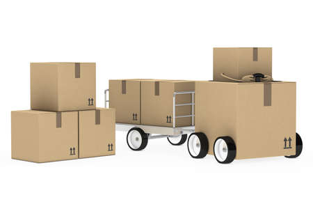 loaded: brown package figure pull a metal trailer Stock Photo