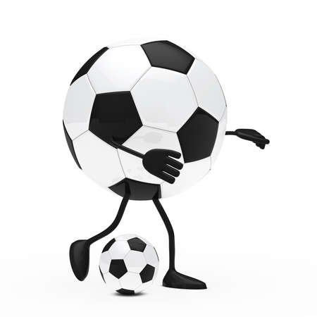 football figure shoots a ball white background photo