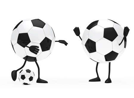 shoots: football figure shoots a ball to goalkeeper