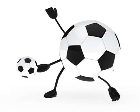 shoots: football figure shoots a ball white background
