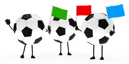 football figure wave flags on white background photo