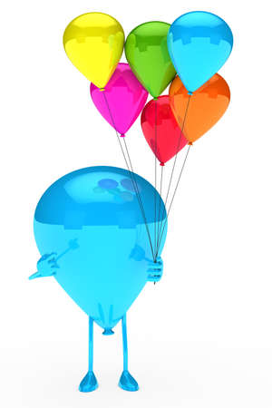 blue balloon figur shows on colorful balloons Stock Photo - 12899941