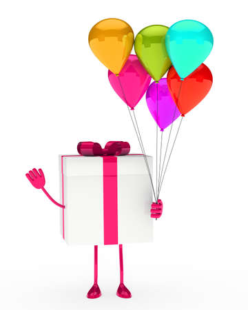 frolic: gift box hold balloons and wave hand