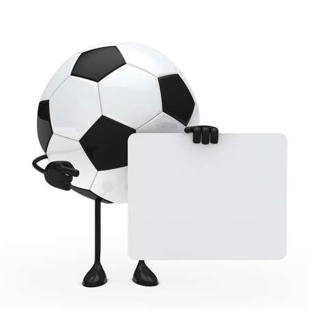 hold em: football figure hold billboard on white background