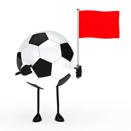 football figure pointed finger on red flag photo