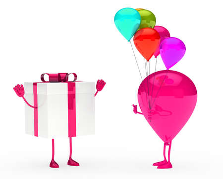 gift and balloon figure on white background Stock Photo - 12978205