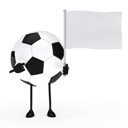 football figure pointed finger on white flag photo