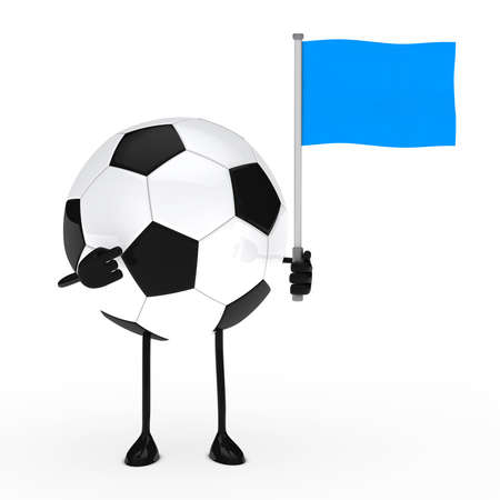 football figure pointed finger on blue flag photo