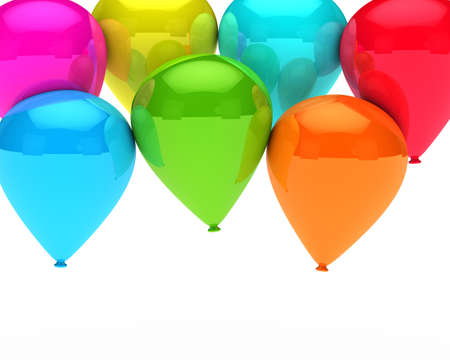 new age: colorful balloons are flying on white background Stock Photo