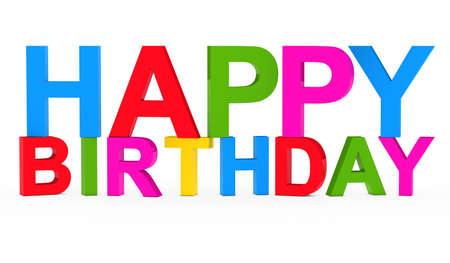 3d text: colorful happy birthday text on white background