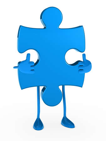 blue puzzle figure thumbs up white background photo