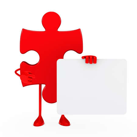 red puzzle figure thumbs up white background photo