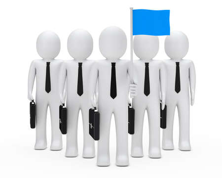 opposing: business men with team hold blue flags Stock Photo