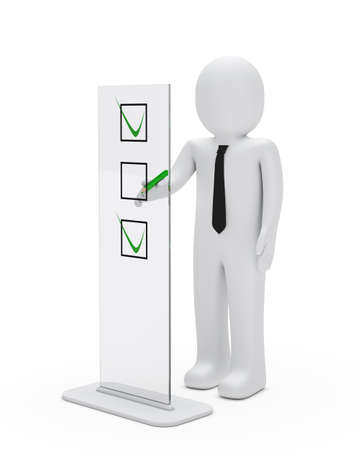 business man stand for check glass objekt Stock Photo