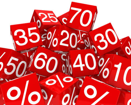 amounts: red sale cubes mountain with white percent