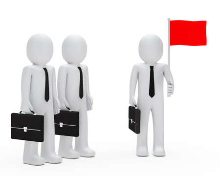 opposition: business man with team hold red flags