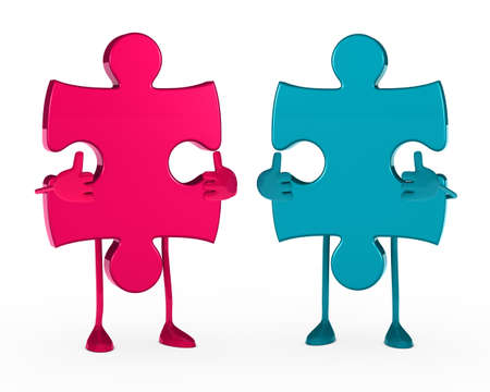 organisation: two puzzle figure thumbs up white background