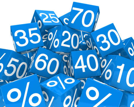 bargain: blue sale cubes mountain with white percent