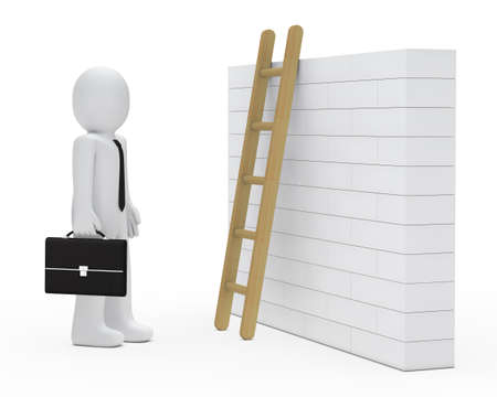 business man stand before wall with ladder photo
