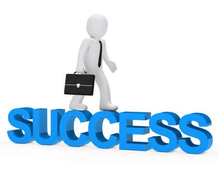 business man walk over blue success word photo