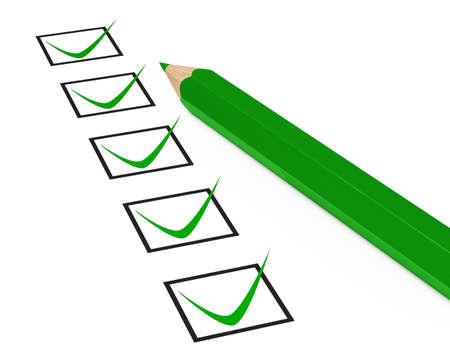grüne Kontrollkästchen ankreuzen auf weißem Hintergrund Standard-Bild