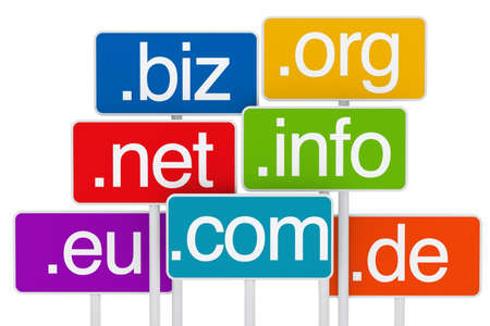 interconnected: many colorful domain signboards on white background Stock Photo