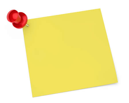 notelet: red pin and notepaper on white background