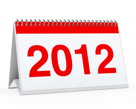 organise: red year calendar 2012 on white background