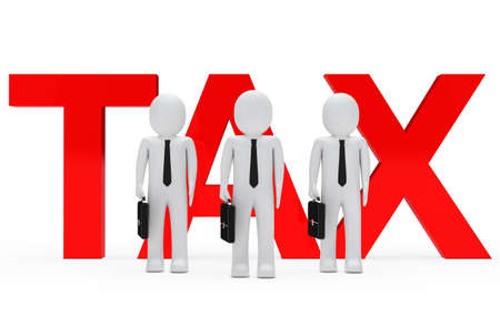 taxman: Businessmen team stand for red tax word
