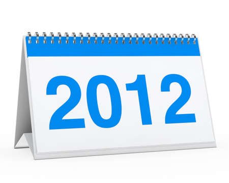 organise: blue year calendar 2012 on white background