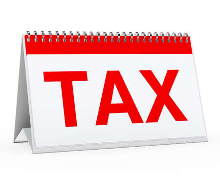 dues: white calendar with big red tax text Stock Photo