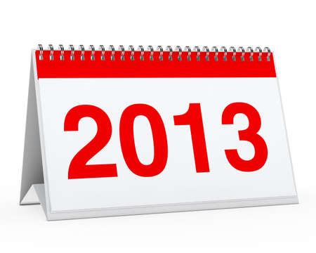red year calendar 2013 on white background photo