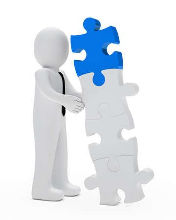 businessman construction a blue white puzzle wall photo