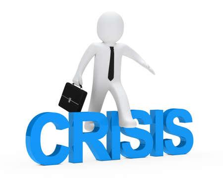 surmount: business man jump over blue crisis text Stock Photo