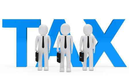 taxman: Businessmen team stand for blue tax word