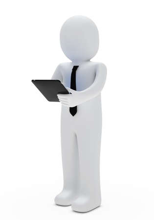 businessman hold a tablet in his hand photo