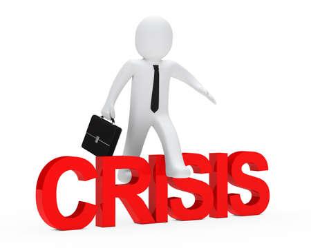 surmount: business man jump over red crisis text