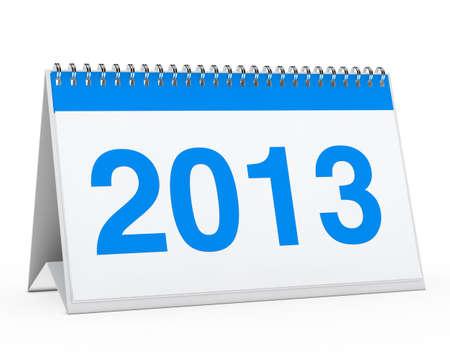 organise: blue year calendar 2013 on white background