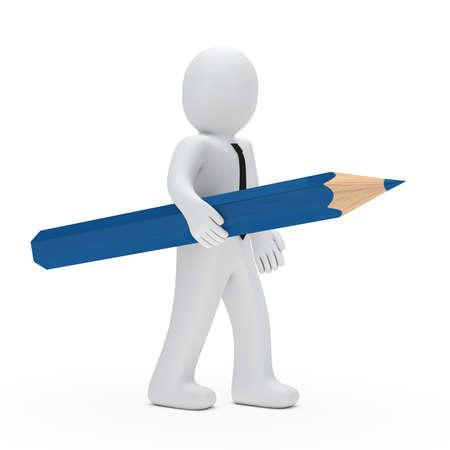 business man hold a big blue pencil