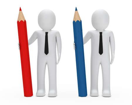 reg: two businessmen hold  big reg blue pencil