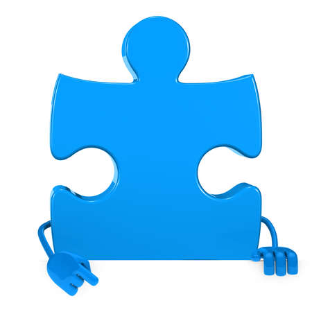 downwards: puzzle jigsaw blue figure point hand finger Stock Photo