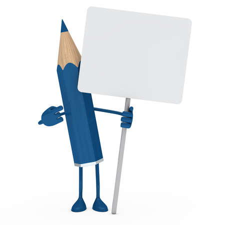protest: blue pencil figure point finger on billboard