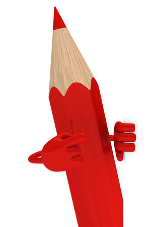 sharpen: big red pencil pointed finger behind wall