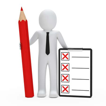 inspector: businessman hold red pencil and check box