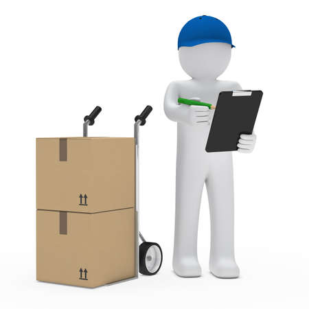removals boxes: package man with hand truck and checklist