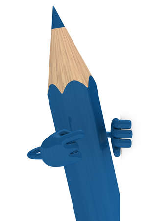 big blue pencil pointed finger behind wall photo