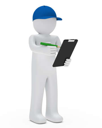 removals boxes: courier figure with cap make check signs Stock Photo
